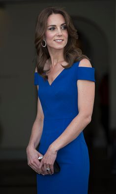 The Roland Mouret Resort 2016 Nansen gown worn by HRH, The Duchess of Cambridge to SportsAid's 40th anniversary dinner in London, on Thursday June 9th 2016. https://www.rolandmouret.com/…/resor…/NANSEN-GOWN/ROYAL-BLUE Roland Mouret   8 Carlos Place, London   952 Madison Avenue, New York