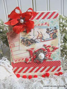 kitschy christmas card-SLEDDING DACHSHUND DOGS handmade card