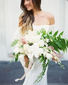Some of the most beautiful and exotic plants originate intropical locations. These lush greens aren't only for destination events. #Wedding #Flowers #Tropical #Summer #Green #WeddingFlowers #WeddingIdeas #WeddingBouquets | Martha Stewart Weddings - 20 Tropical Leaf Wedding Bouquets Orchid Bouquet Wedding, Tropical Wedding Bouquets, Protea Wedding, White Wedding Bouquets, Bride Bouquets, Floral Wedding, Wedding Flowers, Tropical Weddings, Orchid Wedding Theme
