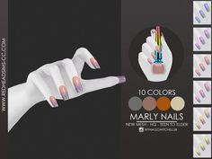 The Sims 4 mody do gry: Paznokcie Marly od RedHeadSims Packs The Sims 4, Sims 4 Nails, Sims 4 Bedroom, Sims 4 Dresses, Sims 4 Gameplay, Sims 4 Toddler, The Sims 4 Download, Mermaid Nails, Sims 4 Clothing