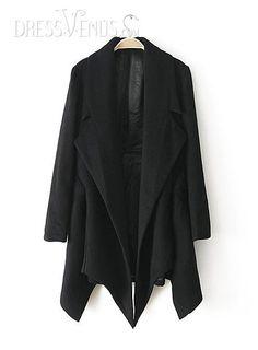 US$74.99 Fabulous Lapel Asymmetrical Hem Woolen Trench Coat  . #Coats #Hem #Coat #Asymmetrical