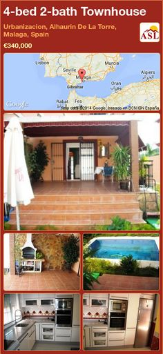 4-bed 2-bath Townhouse in Urbanizacion, Alhaurin De La Torre, Malaga, Spain ►€340,000 #PropertyForSaleInSpain