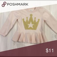 Baby Gap Peplum Sweater Soft pink Peplum sweater with gold shimmery crown. Worn twice, great condition. GAP Shirts & Tops Sweaters