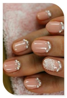 Love the lining of the bottom of the nail with rhinestones!