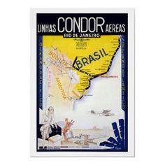 Poster de viagens do vintage, Brasil por yesterdaysgirl