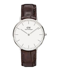York silver-tone & brown leather watch Sale - Daniel Wellington Sale