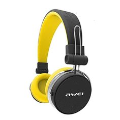 AWEI Bluetooth Headphones Wireless Stereo Super Deep Wireless Headset Subwoofer with Touch Button PU Earmuffs Headband,Yellow Gaming Headphones, Over Ear Headphones, Wireless Headset, Earmuffs, Touch, Button, Amazon, Products, In Ear Headphones