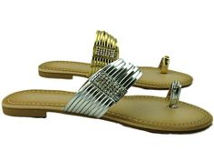 Silver Or Gold Toe Ring Flip Flop -£9.99