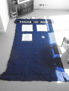 Crocheted TARDIS blanket