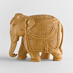 Hand-carved Elephant Festival Sculpture   National Geographic Store