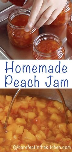 Perfectly sweetened and wonderfully spiced jam with just a hint of cinnamon, Homemade Peach Jam has been a staple in our home for about 15 years. Spiced Peach Jam, Spiced Peaches, Jelly Recipes, Fruit Recipes, Peach Jam Recipes, Homemade Jam Recipes, Drink Recipes, Recipies, Canning Recipes