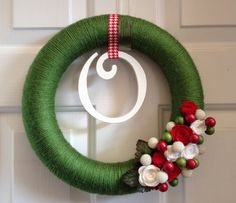 Christmas Wreath with Handmade Felt Flowers and by JustEnoughSugar