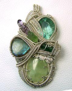 Wire wrap pendant  Crystal gem gemstone  large  by mandalarain, $475.00