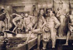 George Wesley Bellows ◘ The Shower Bath ◘ 1917 Ashcan School, Gay Art, Art Model, American Artists, American Realism, Art Google, Artist At Work, Old Photos, Art History