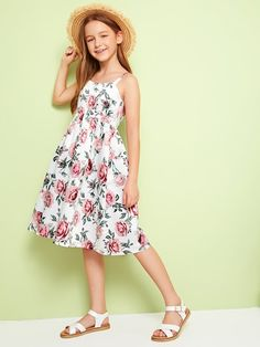 To find out about the Girls Zip Back Floral Print Sundress at SHEIN, part of our latest Girls Dresses ready to shop online today! Cute Girl Outfits, Kids Outfits, Cute Dresses, Girls Dresses, Kids Frocks Design, Tween Fashion, Tee Dress, Elegant Outfit, Doll Wardrobe