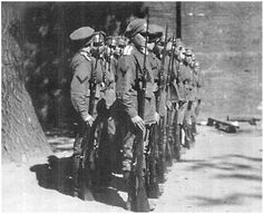 Soldiers from the first Women's Battalion of Death, with bayonets. The A. Tarsaidze Collection, courtesy of the Hoover Institution on War, Revolution and Peace.