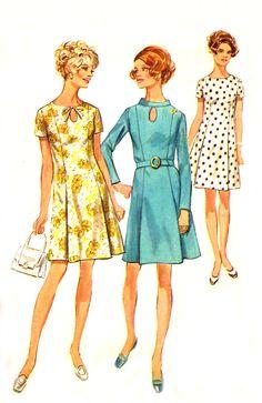 Vintage 60s Keyhole Dress Pattern - Simplicity 8192 - Princess Seam - Front Pleats - Size 16