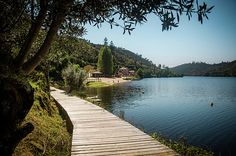 Landscape of Alamal fluvial beach and the Tagus river in Portugal