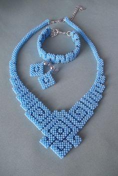Geometric Beadwoven, Geometric necklace, Bead necklace, Blue jewelry, Set beaded jewelry, Blue necklace, Beadwork, Handmade necklace, Gift by JewelryShopCamomile on Etsy