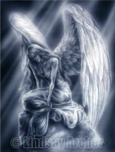 Tears for the Lost - Angel art by Lindsay archer - Originally drawn in pencil while working the booth at Mega Con Later it was enhanced and give - Angel Y Diablo, Engel Tattoos, Angel Artwork, Gothic Angel, Angel Drawing, Angel Warrior, I Believe In Angels, Ange Demon, Angel And Devil