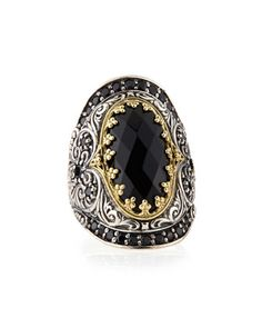 Silver & 18k Gold Spinel Oval Ring by Konstantino at Neiman Marcus.