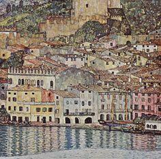 Gustav Klimt Malcesine on Lake Garda painting is shipped worldwide,including stretched canvas and framed art.This Gustav Klimt Malcesine on Lake Garda painting is available at custom size. Art Klimt, Art Nouveau, Ouvrages D'art, Canvas Prints, Art Prints, Canvas Art, Fine Art, Oeuvre D'art, Street Art