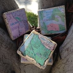Map Coasters set of 4 fancy tile by PeaceloveandCoasters on Etsy, $14.00