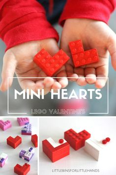 Build mini LEGO hearts for a fun and quick Valentine's Day activity. Our mini LEGO hearts are part of a whole set of LEGO Valentine's Day ideas. Great Valentines STEM activity for kids that includes fine motor skills practice. Simple enough for preschool, kindergarten and grade school kids to enjoy building.