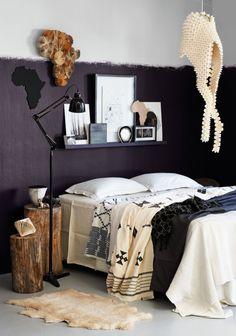 Cool ethnic inspired bedroom styled by Liezel Norval-Kruger Flat Design Ideas, Bedroom Decor, Modern Country Decor, Bed Design, Black And White Interior, Bedroom Inspirations, Bedroom Styles, White Interior, Room