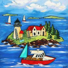Own a commissioned painting of Curtis Island Light, Maine (similar to this) in breakfast nook. Her Saturday Cove gallery near grandparent's house and Dad's cemetary-Northport, Maine. Kimber Lee Clark is a self-taught artist living along the coast of Maine for 25 years. Inspired by Matisse and Chagal, Kimber's artful abundance plays through her work with color, wit, and a narrative whimsy.