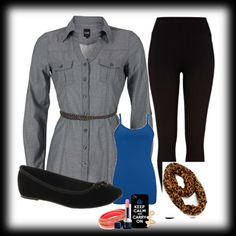 Perfect Travel Outfit!  Leggings, Chambray Tunic, Tank top, Ballet Flats, and Leopard Scarf