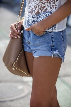 sheer lace, rockstud, cutoffs