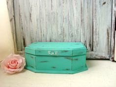 Aqua Vintage Jewelry Box Shabby Chic Teal by WillowsEndCottage