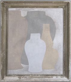 sienna, grey white & yellow - Original acrylic painting on wood in antique frame by Peter Woodward