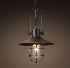 restoration hardware industrial pulley single pendant. Black Bedroom Furniture Sets. Home Design Ideas