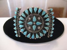 Classic Vintage Zuni Sterling Silver Turquoise Cluster Cuff, c1960s