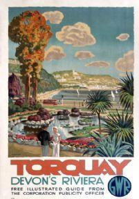 Torquay, Devon's Riviera. Artwork by Martine… Torquay, Devon's Riviera. Posters Uk, Train Posters, Railway Posters, British Seaside, British Travel, British Isles, Torquay Devon, National Railway Museum, Retro Poster