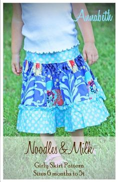 Noodles and Milk Sewing Pattern -Tutorial PDF DIY-Annabeth Girly Skirt-Sizes 6mo to 5t