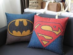 Linen Cotton Pillow Cover BATMAN SUPERMAN hero by homeandlifestyle, $19.00