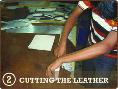 STEP 2 CUT LEATHER - The second stage is to cut the leather pieces used to create a satchel from high quality vegetable tanned leather, from templates, using razor sharp knives.    STEP 3 – SKIVE LEATHER - From the cutting section they are passed to a skiver, who will reduce the thickness of the edges of some of the pieces where they overlap so the join appears smooth and seamless.