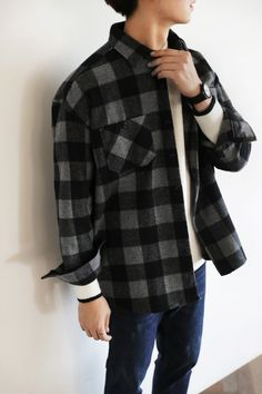 Pocket Check Shirts #AsianFashion #KoreanFashion #Men #Casual #Gingham --- $51.00