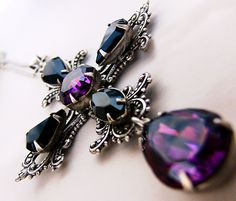Gothic Cross Necklace Purple Black Swarovski Gothic Jewelry Statement. €65.00, via Etsy. I love it.