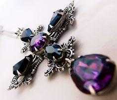 Gothic Cross Necklace Purple Black Swarovski Gothic Jewelry Statement. €65.00, via Etsy.
