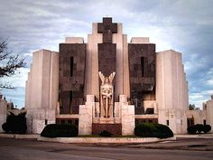 Argentinian Art Deco: Main gate of the cemetery of Azul, by the architect Francisco Salamone (1897 – 1959), in Buenos Aires' province, Argentina . 1930's. .