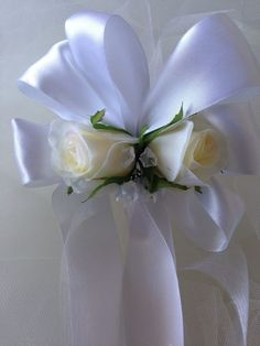 WEDDING CHAIR BOW PEW END DECORATION WEDDING SILK ROSES WITH JIP-MANY COLOURS