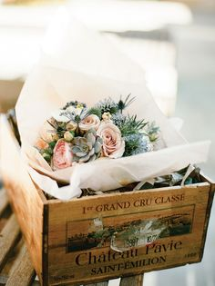Valley Flora bouquets arrived in wine crates.