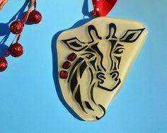 Giraffe Aftrica Christmas Ornament Handmade Fused Glass Ivory