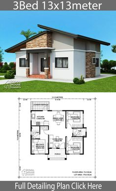 Home design Plan with 3 bedrooms - Home Design with Plansearch Office houses design plans exterior design exterior design houses home architecture house design houses Sims House Plans, House Layout Plans, New House Plans, Small House Plans, House Layouts, Simple House Design, Cool House Designs, Modern House Design, Modern Bungalow House