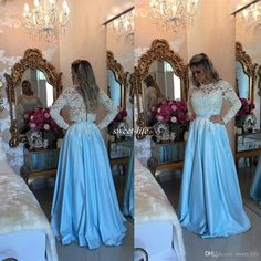 Elegant Long Sleeve Prom Dresses Illusion Lace Sky Blue Satin Pearl A-Line 2016…