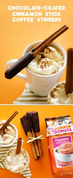 Adding decadent flavor to your morning coffee is easier than ever with this recipe for Chocolate Coated Cinnamon Stick Coffee Stirrers. Whether you choose to enjoy this rich drink as a breakfast pick-me-up or choose to wrap it up with Dunkin' At Home's Bakery Series® Cinnamon Roll for a homemade gift idea, you can't beat the fact that all the ingredients you need can be found wherever you buy your groceries!